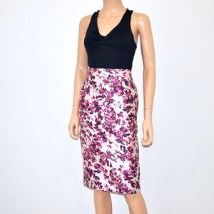 ESCADA Pink Floral Fil Coupe Skirt - Sz 34